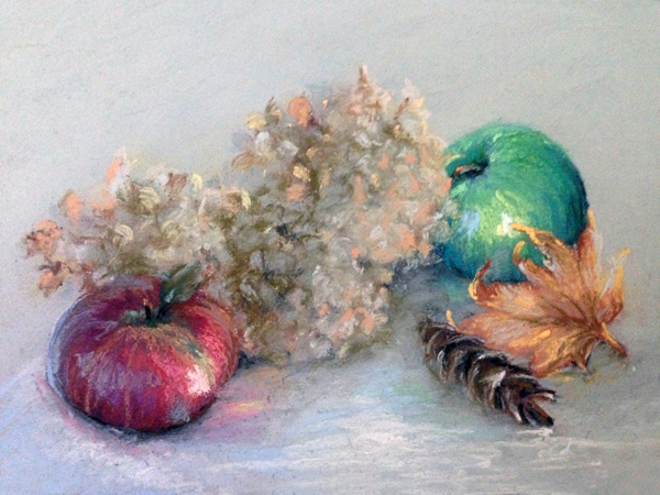 Fall Apples – White   9″x12″, pastels on paper