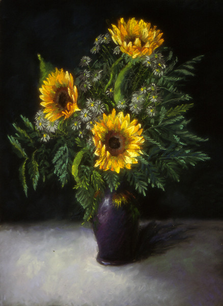 Sunflowers   23″x18″, pastels on paper