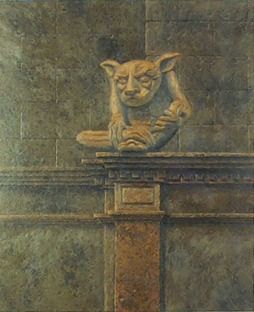 "Gargoyle   Oil on illustration board, 19""x21"""