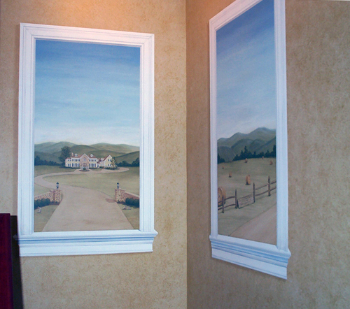 Trompe L'oeil Windows   Acrylic on wall,   72″ x 36″ each