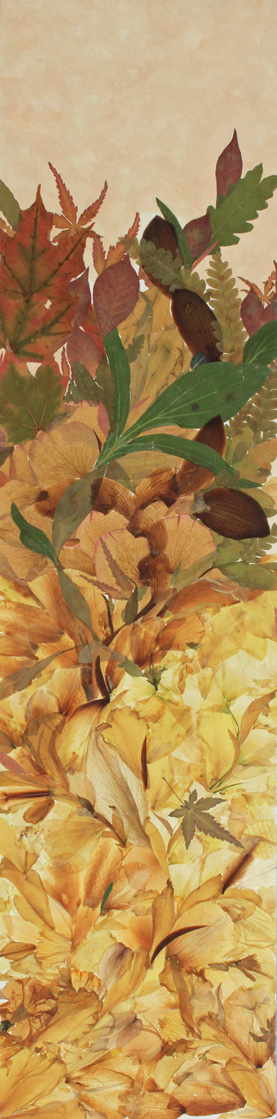 Earth Rising, Autumn 32″x8″, giclée of original collage created with pressed botanicals