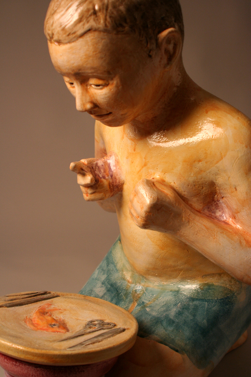 Missing Link – Missing Ring (detail) Terra cotta and maiolica, appx 30″ x 18″ x 22″