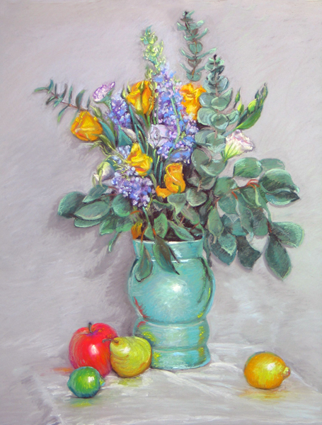 Yellow Roses in a Green Vase   30.5″x25″, pastels on paper