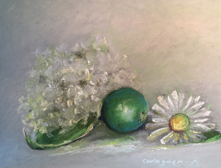 "Daisy in Green Pastel, 14""x16"" framed"
