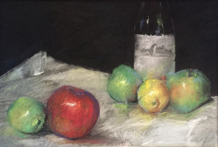 "One Red Apple Pastel, 20 x25"" unframed"