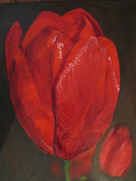 "Red Tulip Oil on canvas, 18""x14'"