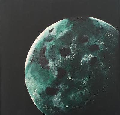 "Emerging Moon   Mixed media , 30""x30"""