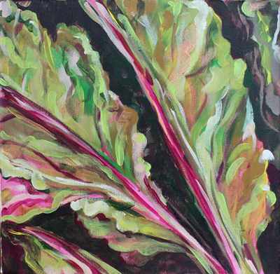 Chard Leaves Acrylic painting