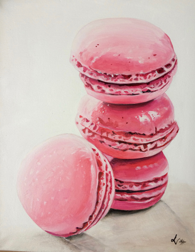 "Sweet Macarons Acrylic on canvas, 20""x16"""