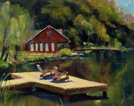 "At the Lake   Oil on panel, 8""x10""  (plein air)"