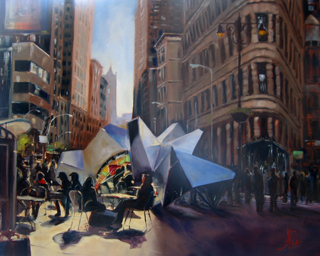 "Flat Iron District I, 24th, 5th & Broadway   Oil on canvas, 16""x20"""