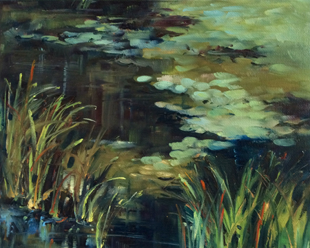 Water Lilies Oil on panel, 8″x10″   (plein air)