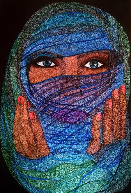 "Veiled Woman of the Wadi Mujib Mixed media, 15""x11"""