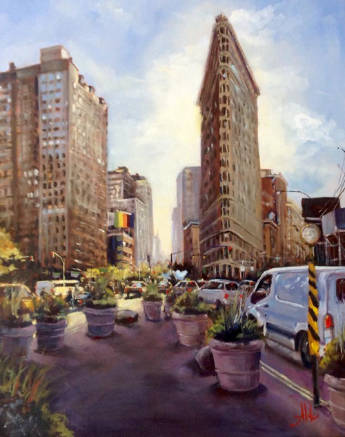 "Flat Iron District II, Flatiron Plaza Oil on canvas, 20""x16"""