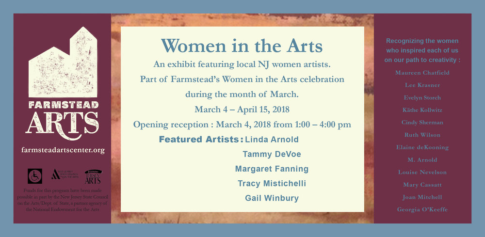 ARTseeNJ member is part of a group exhibition discussing other women artists who inspired each of the 5 exhibiting artists.