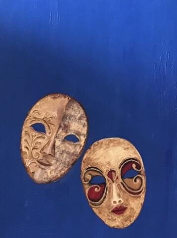 "Journey of Life Under Mask Mixed media, 48""x30"""