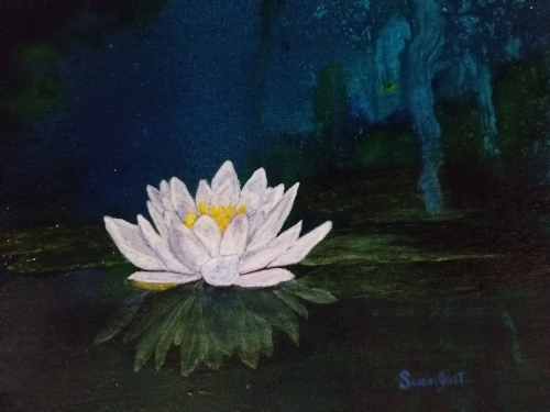 "Lotus Blossom Acrylic on Canvas, 10""x12"""