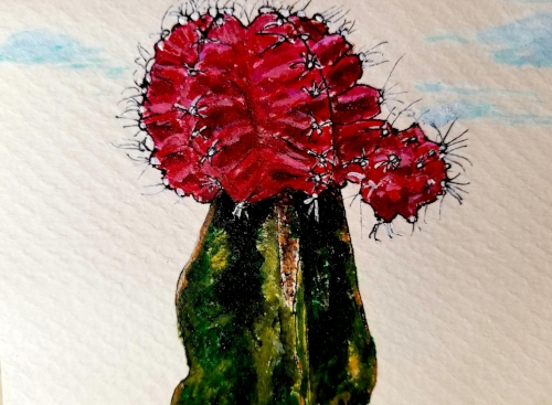 "Cactus Acrylic on Paper / Greeting Card, 3.5""x5"""