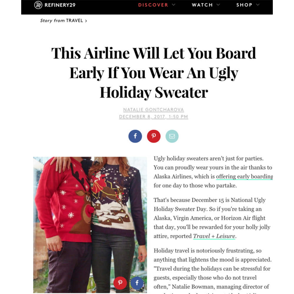 Refinery 29, Alaska Airlines Ugly Sweater Campaign