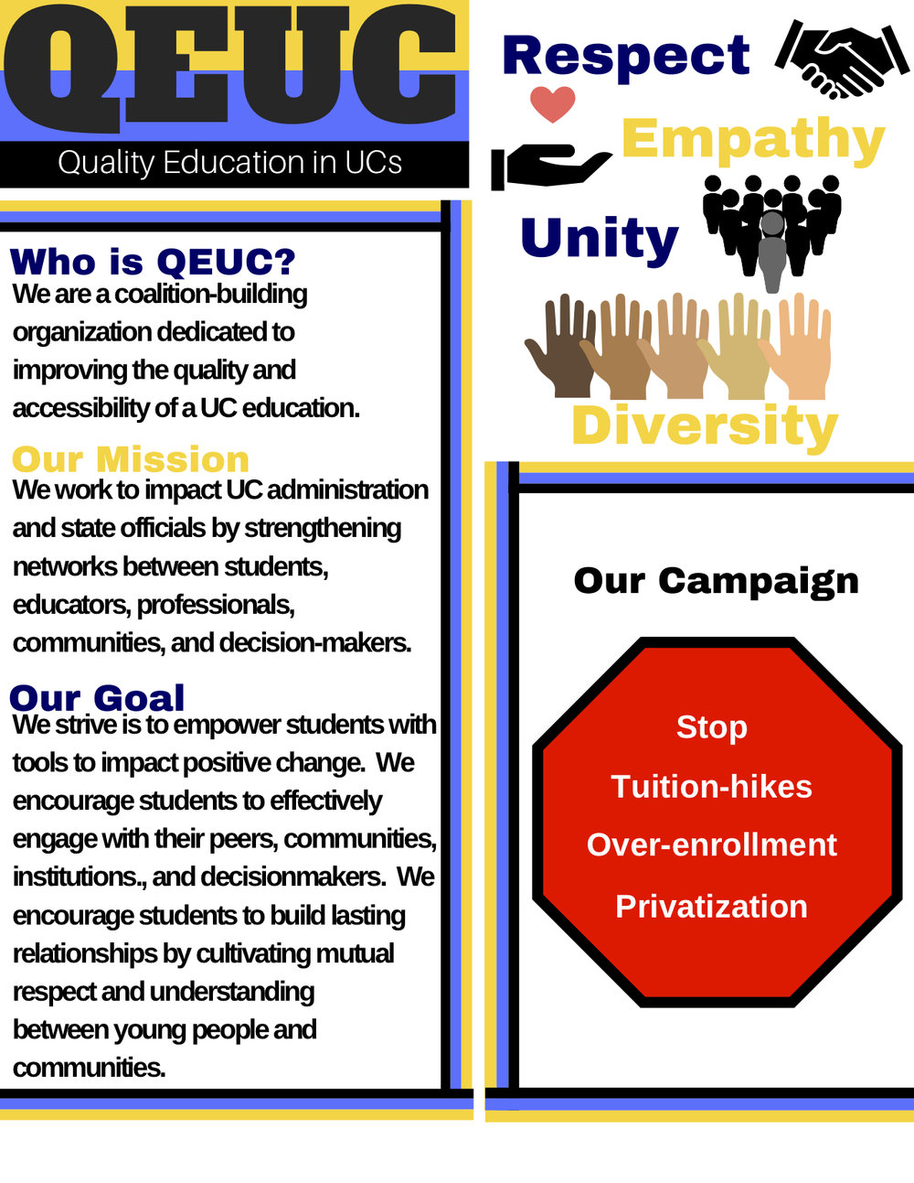 QUEC - Meetings occur weekly on Fridays at 5:30 pm. We meet at McHenry Library, room 3372.Contact usantill@ucsc.edu for more info.