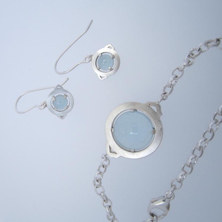 Milky aquamarine and silver