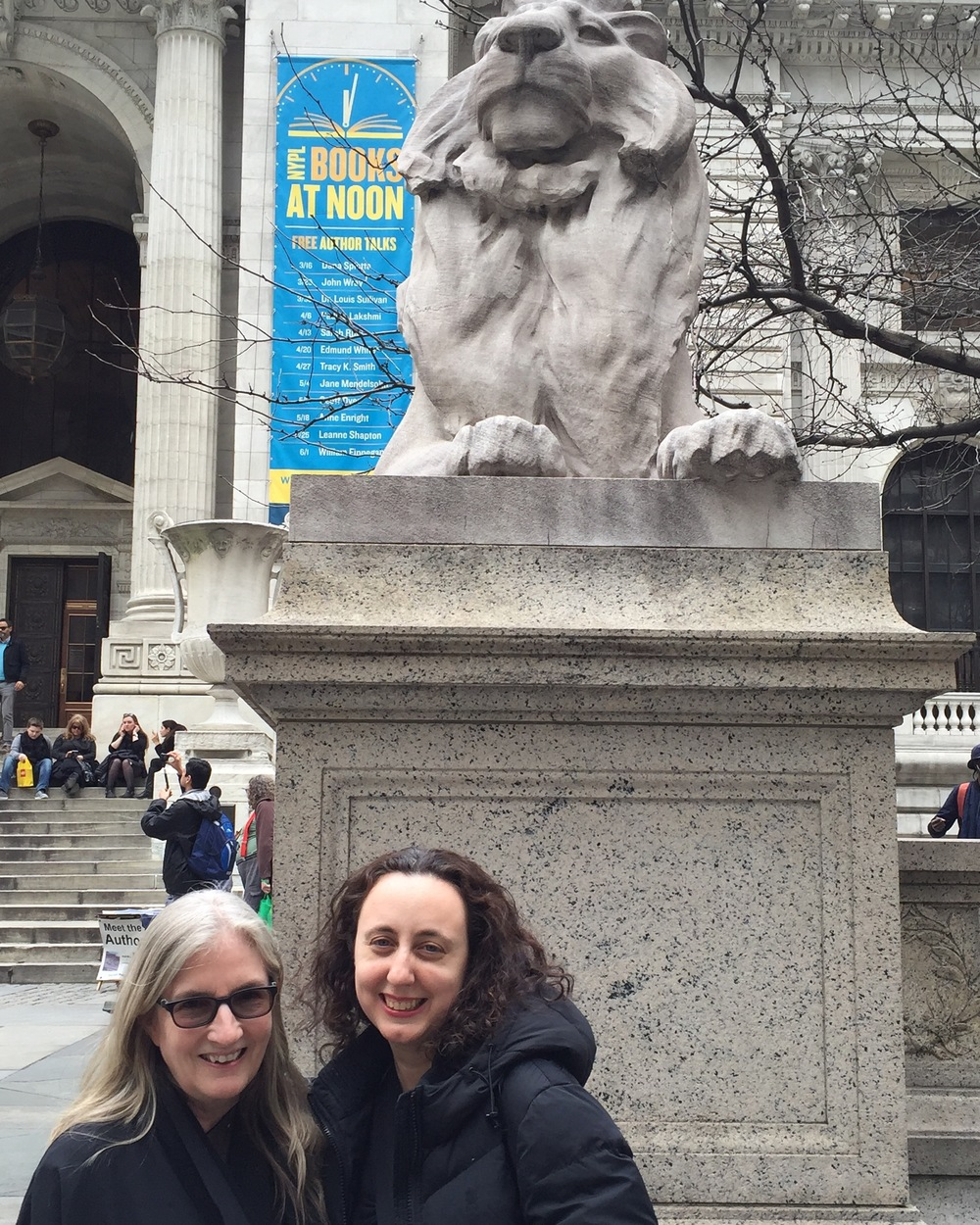 With Aimee Friedman in front of Fortitude at the NYPL.