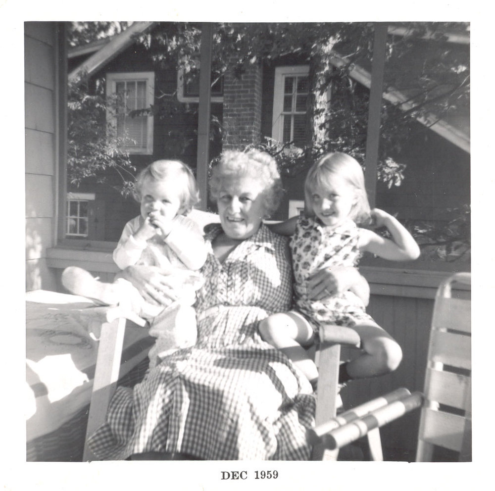 from L-R: middle sister, Mim, older sister, on the porch at Hubbard's Point.  Our youngest sister wasn't with us yet; she was born the next January.