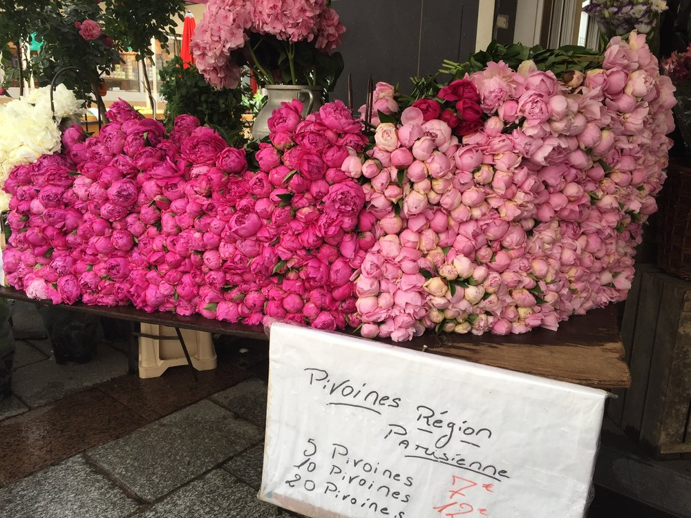 Flower market on the Rue Cler.