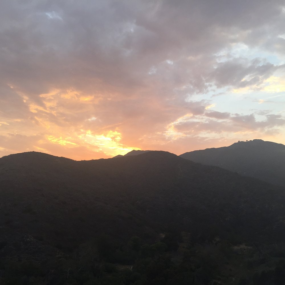 sunset, not fire. looking across topanga canyon a year ago.