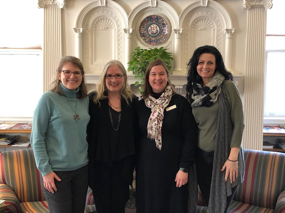 with brilliant librarians, from left: katie balacca, development assistant; me; katie huffman, director; julie bartley, children's librarian.