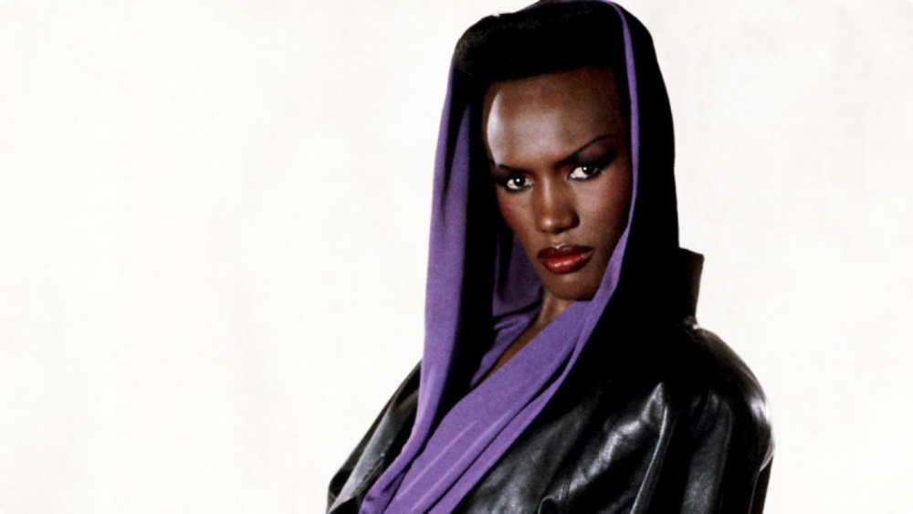 Grace Jones in a signature hood.