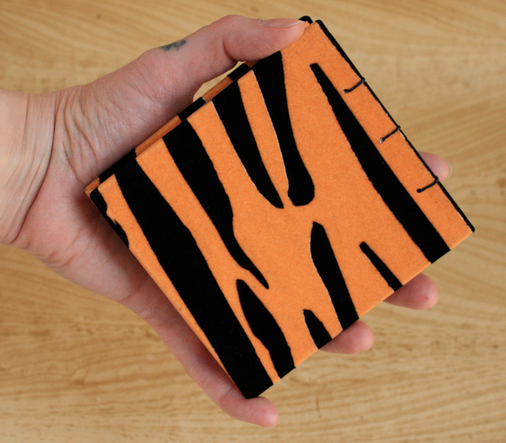 Palm-Sized Coptic Notebook (Flocked Tiger Cover)