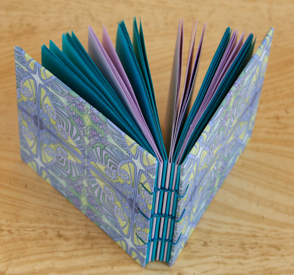 Palm-Sized Coptic Notebook (Trippy Flower Cover)