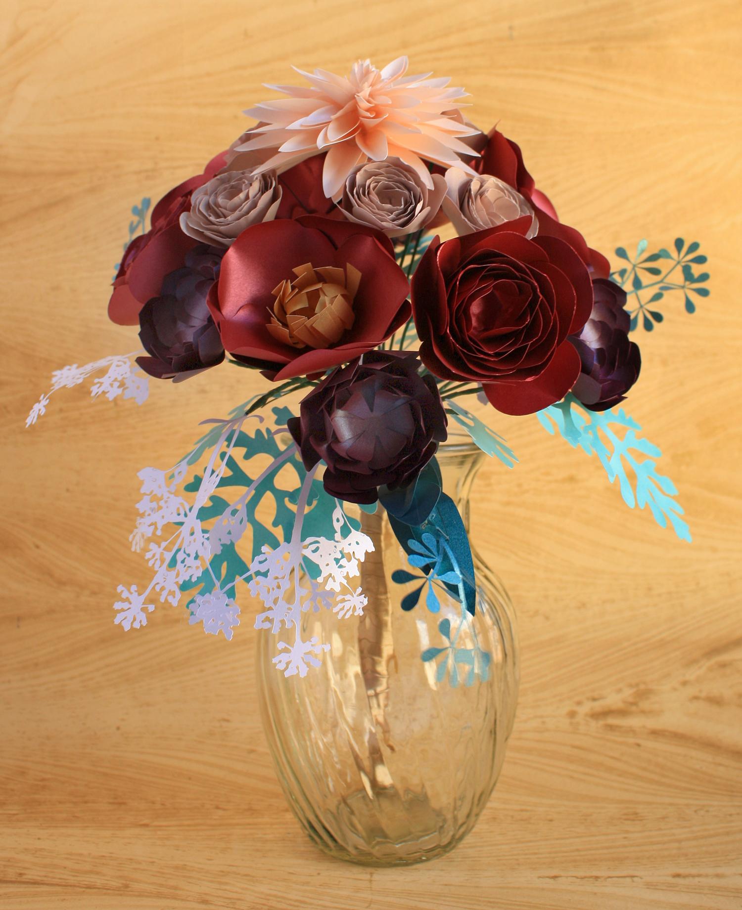 PAPER FLOWER BOUQUET LARGE (DAHLIA, POPPY, RANUNCULUS, SUCCULENT ...