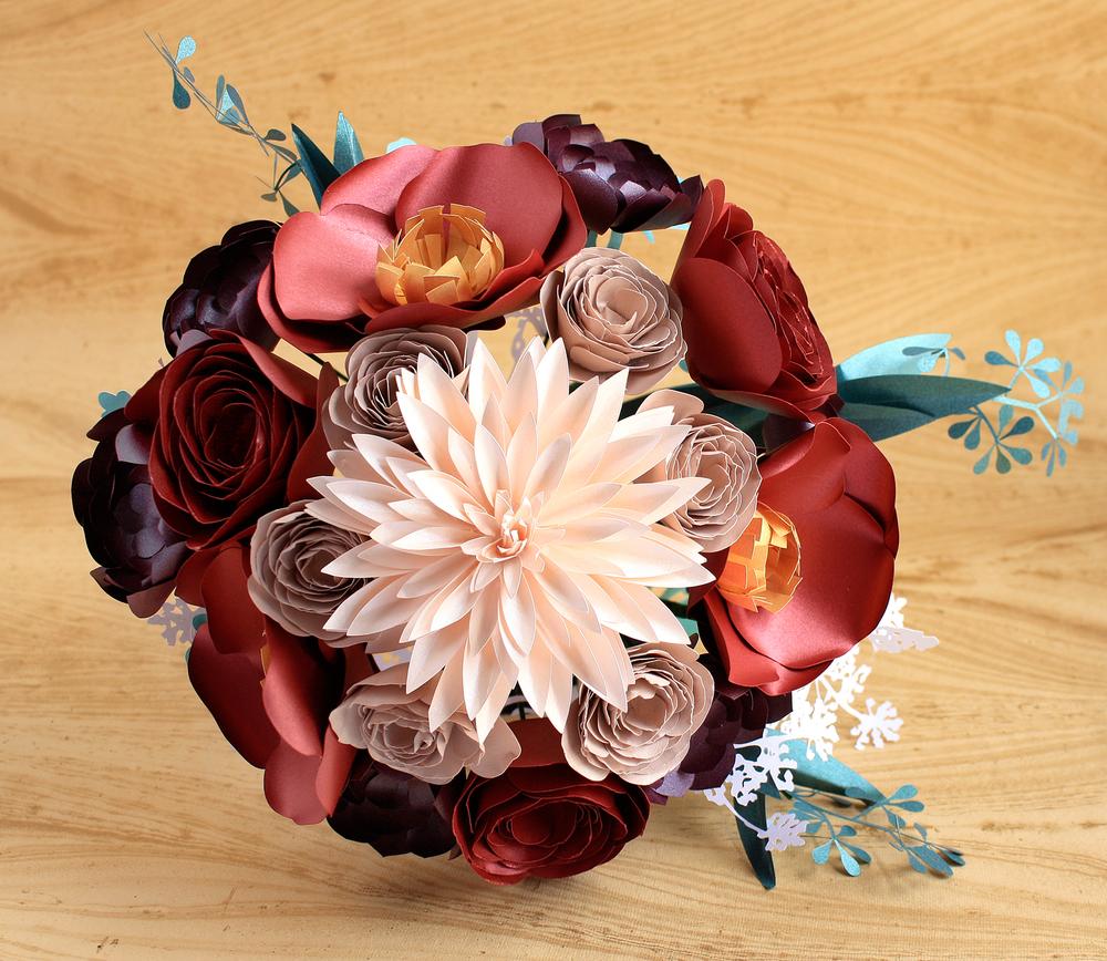 PAPER FLOWER BOUQUET LARGE (DAHLIA, POPPY, RANUNCULUS, SUCCULENT)
