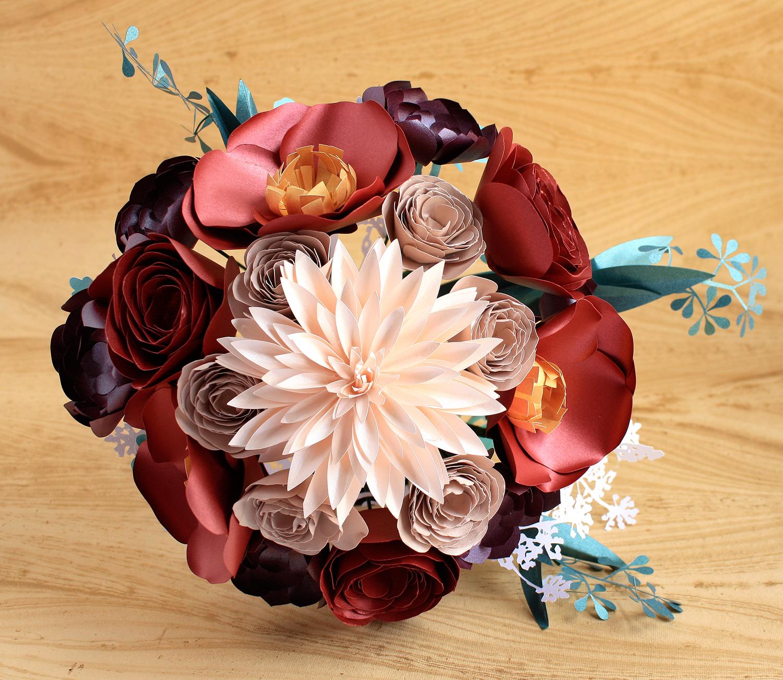 Paper Flower Bouquet Large Dahlia Poppy Ranunculus Succulent