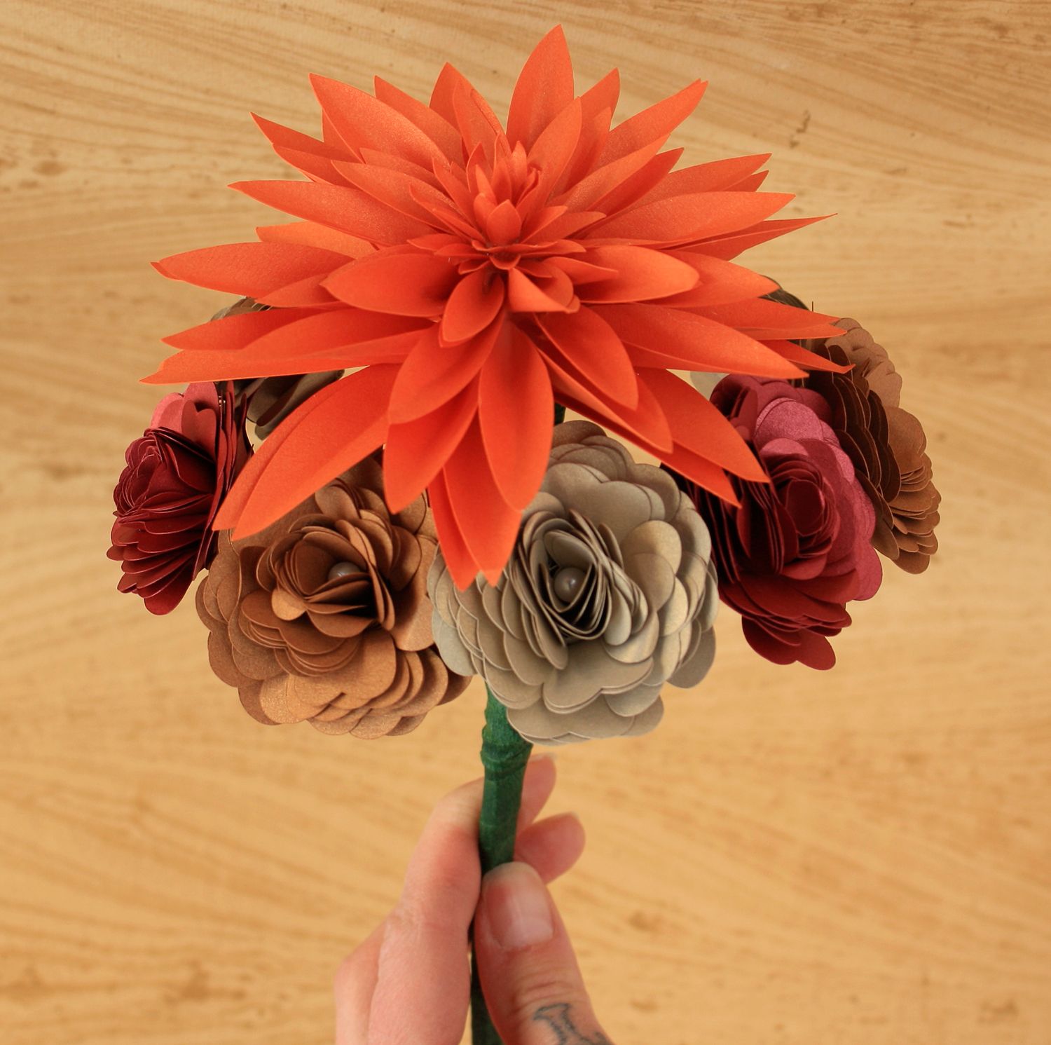 PAPER FLOWER BOUQUET SMALL (DAHLIA, SPIRAL ROSES) — PAPERCRAFT MIRACLES