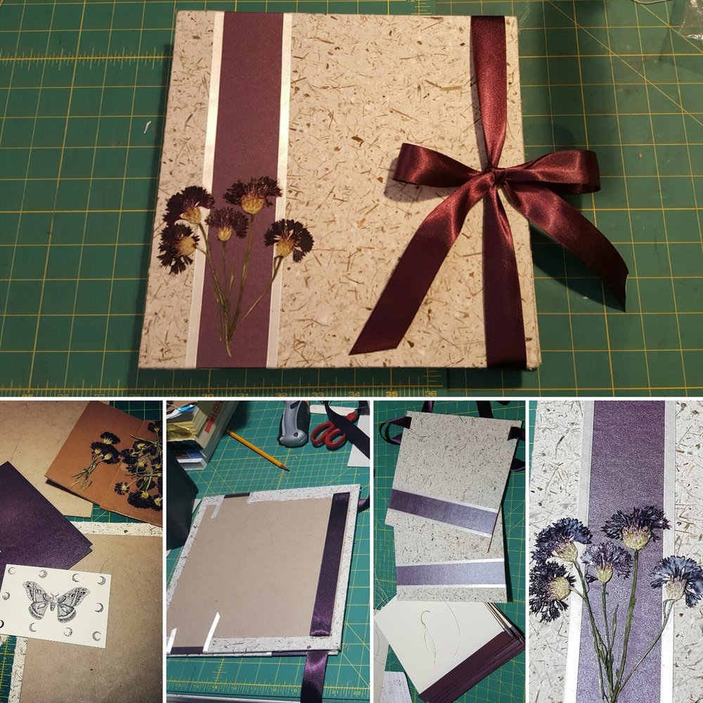 Top image is the finished book. Bottom images left to right: the covers are started, the ribbons are attached, the sewing begins, the flowers are sealed!