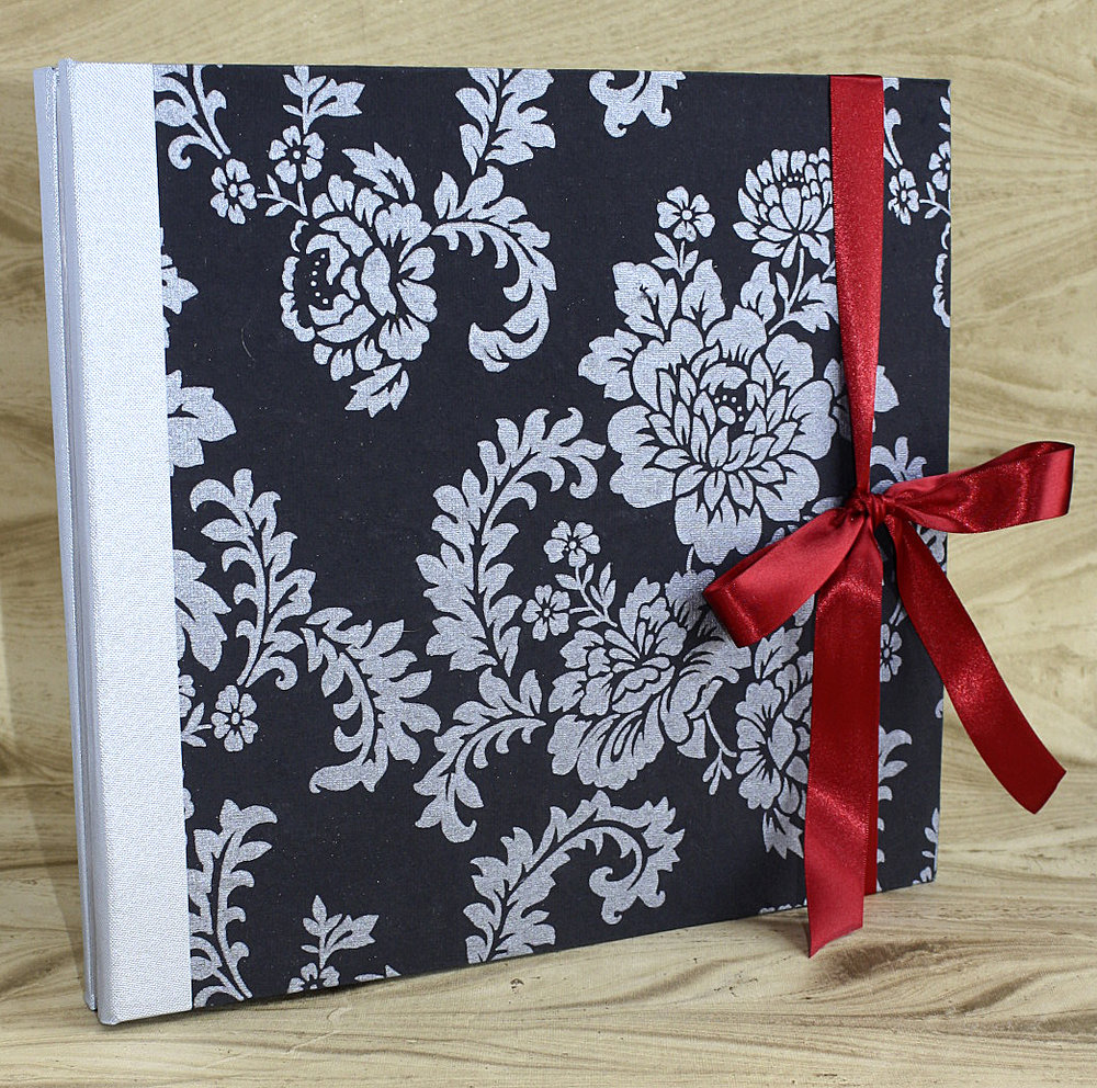 custom book black and white floral pattern red ribbon