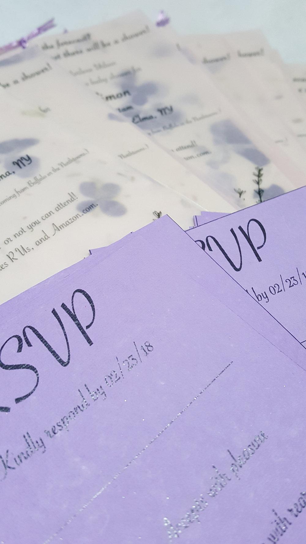 RSVP details invitations