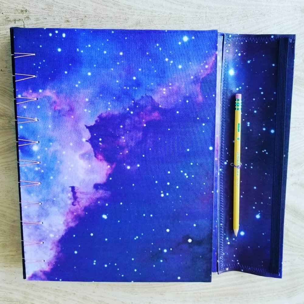 handmade journal with night sky design