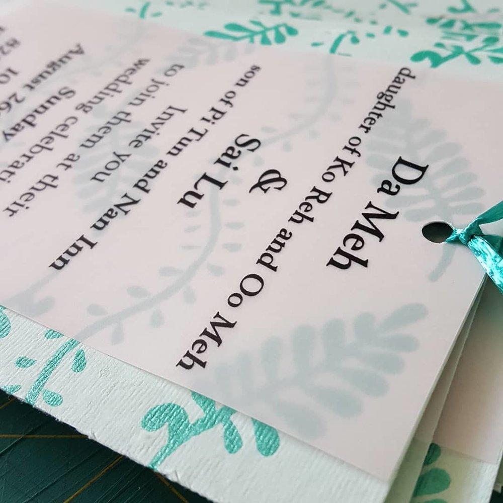 handmade wedding paper invitation
