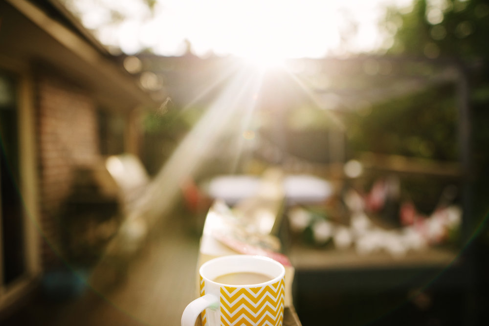 Morning coffee bathed in sunlight by Cindy Cavanagh, Sydney photographer.
