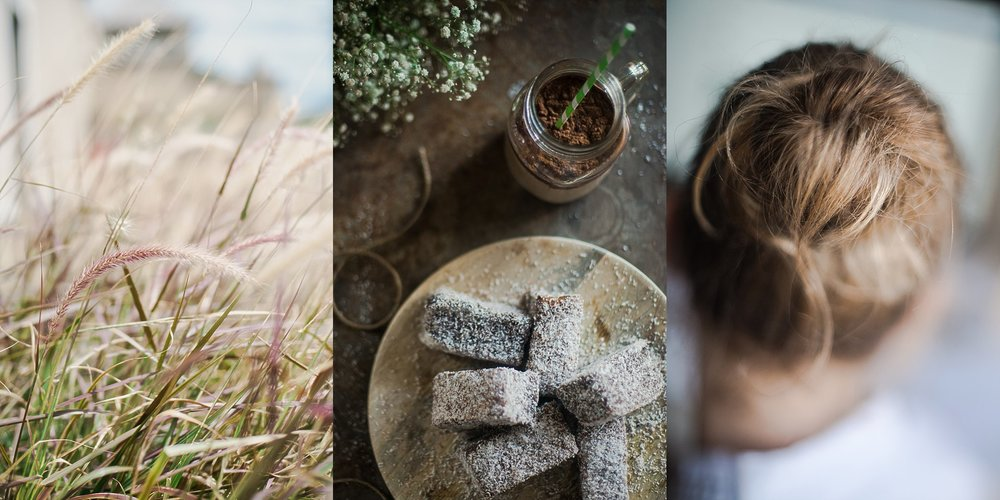 A triptych of neutral tones which captures long summer grass, lamingtons and a messy hair bun. Images by Hills District Lifestyle Photographer, Cindy Cavanagh
