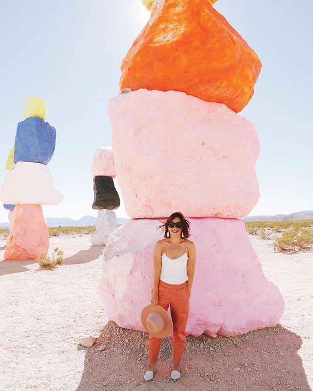 Rather than fly to Vegas we decided to drive, simply so we could stop at the Seven Magic Mountains. Bright colors, in the middle of the desert, is basically my version of heaven.