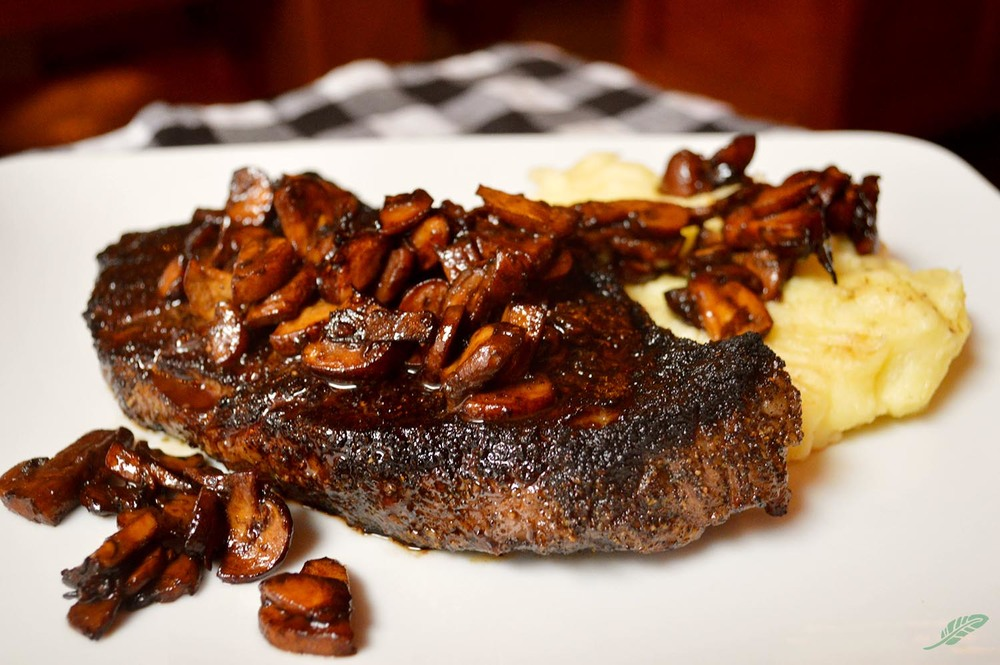 Espresso-Rubbed Shell Steak  with Soy-Sautéed Mushrooms