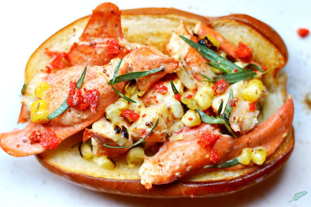 Lobster Roll with Grilled Corn, Fresh Thyme, Lobster Roe