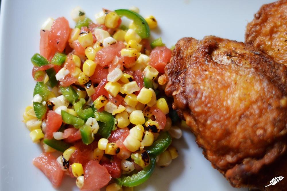 Grilled Corn, Jalapeño, Watermlon Salad