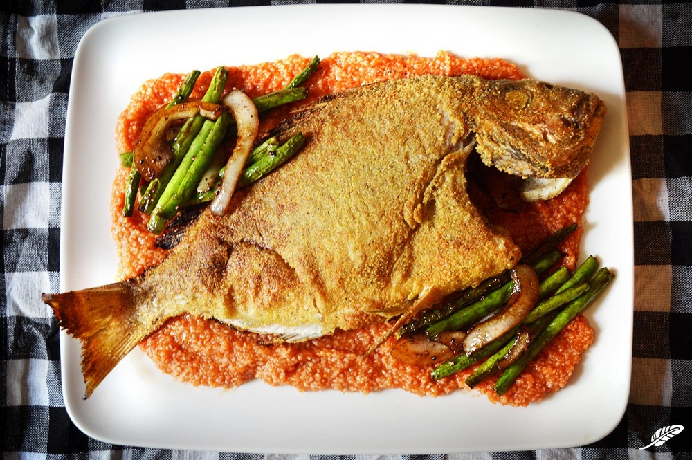 """Fried Porgy over """"Red"""" Grits"""