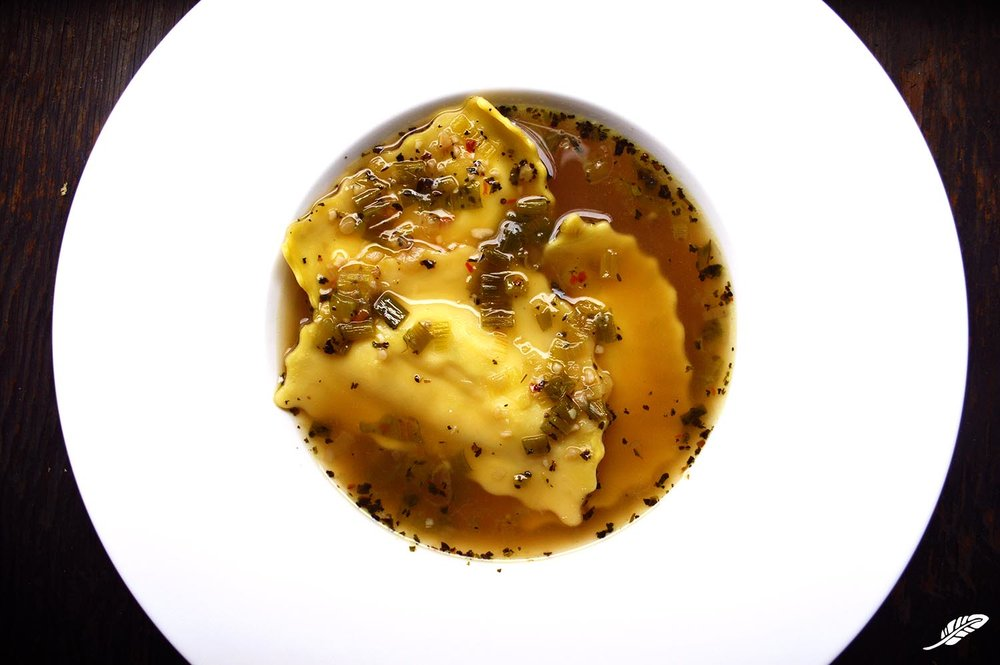 Italian Sausage Ravioli in Herbed Broth